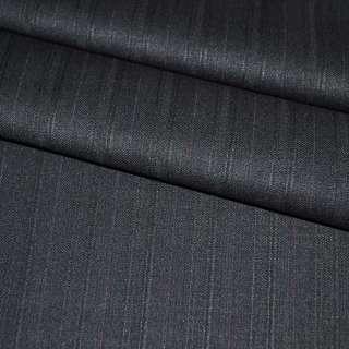 Ткань костюмная с вискозой черная в полоску, ш.155 оптом