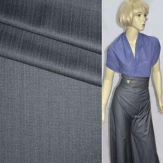 Ткань костюмная с вискозой серая в узкие полоски, ш.155 оптом
