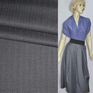 Ткань костюмная с вискозой серо-фиолетовая в узкую полоску, ш.155 оптом