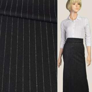 Ткань костюмная с шерстью черная в полоску пунктирную белую, ш.150 оптом