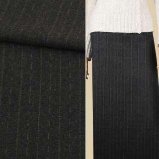 Тканина костюмна зелена темна в оливкові штрихи і смужки, ш.150 оптом