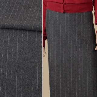 Тканина костюмна сіра в білі штрихи і смужки, ш.152 оптом