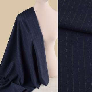 Тканина костюмна синя темна в оливкові штрихи і смужки, ш.150 оптом