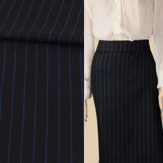 Тканина костюмна чорна в синю смужку 20мм ш.152 оптом