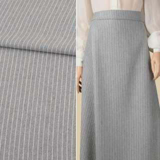 Тканина костюмна сіра в білу смужку 10мм ш.150 оптом