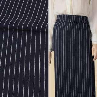 Тканина костюмна синя темна в білу смужку 15мм ш.150 оптом