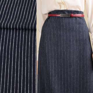 Тканина костюмна синя темна в білу смужку 10мм ш.151 оптом