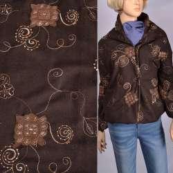 Ткань костюмная коричневая с бежевой вышивкой и замшевыми аппликациями, ш150 оптом