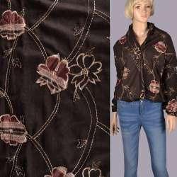 Ткань костюмная коричневая с вышивкой и настроченными цветами, ш.150