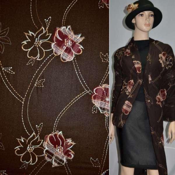 Ткань костюмная коричневая с вышивкой и настроченными цветами, ш.150 оптом