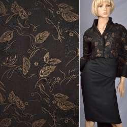 Ткань костюмная черная с вышивкой и штампом золотой лист, ш.150 оптом