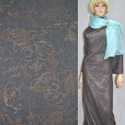 Ткань костюмная темно-серая с вышивкой и светло-коричневым рисунком ш.150