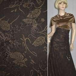 Ткань костюмная коричневая с вышивкой и штампом золотой лист, ш.150 оптом