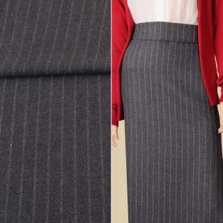 Тканина костюмна з вовною сіра в подвійну білу смужку ш.151 оптом