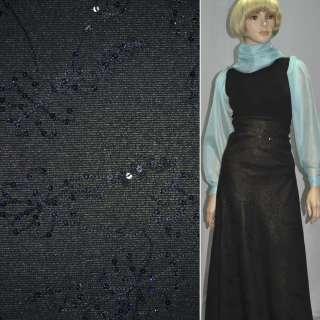Ткань костюмная черная с золотым напылением, черной вышивкой и пайетками, ш.150 оптом