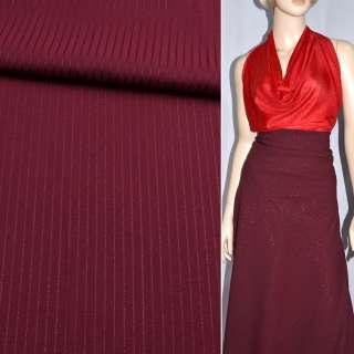 Ткань костюмная бордовая в узкую полоску с серебряным люрексом, ш.150 оптом