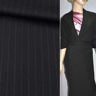 Ткань костюмная черная в полоску, ш.150 оптом