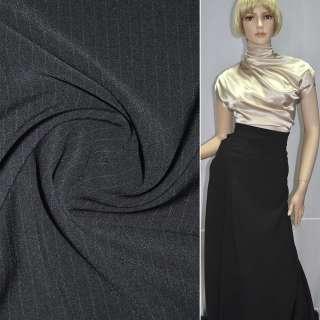 Ткань костюмная черная в узкую полоску стрейч ш.150 оптом