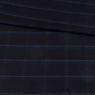 Шерсть стрейч черная в синюю клетку, ш.148 оптом