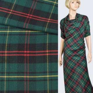 Шотландка с начесом зелено-черная с желто-красными полосами, ш.145 оптом