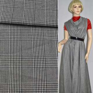 Ткань костюмная в черно-белую клетку шир. 145 см. оптом