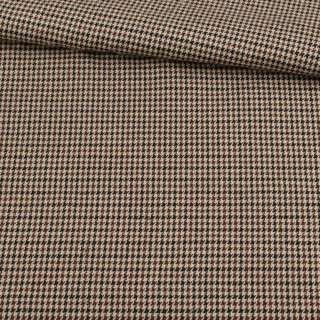 Шотландка бежево-коричневая гусиная лапка, ш.145 оптом