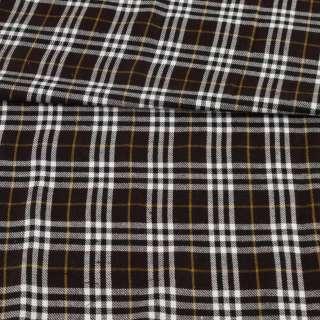 Шотландка коричневая темная в бело-бежевую клетку, ш.150 оптом