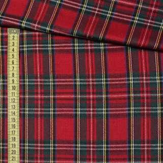 Шотландка красно - зеленая + белая клетка ш.145 оптом