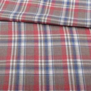 Шотландка коричневая светлая в красно-бело-синюю клетку ш.147 оптом