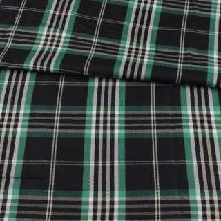 Шотландка чорна в зелено-білу клітинку ш.146 оптом