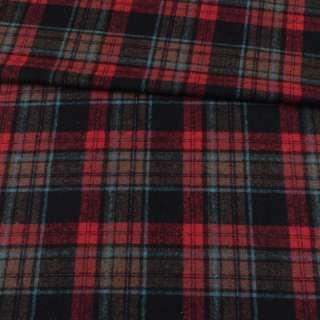 Шотландка чорна в червоно-бежеву, блакитну клітку ш.150 оптом