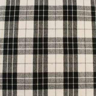 Шотландка белая в черно-серую клетку, ш.150 оптом