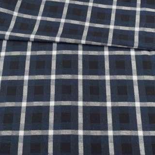 Шотландка черно-синяя в белую клетку, ш.145 оптом