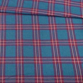Шотландка синяя в красную клетку, ш.143 оптом