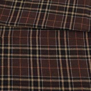 Шотландка коричневая в бежево-черную клетку, ш.150 оптом