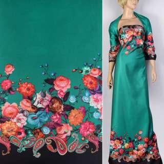 Атлас купон плотный черно-зеленый принт в яркие цветы ш.148 оптом