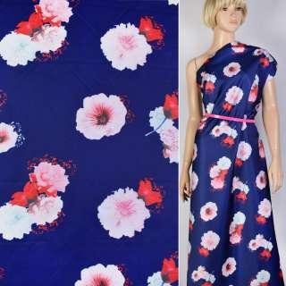 Атлас купон плотный синий принт в бело-розовые цветы ш.147 оптом