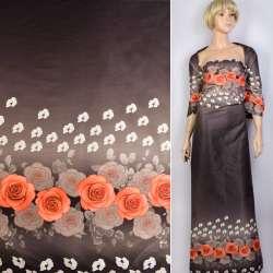 Коттон атлас купон серый в красные, белые цветы ш.130 оптом