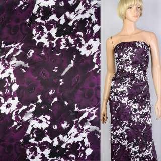 Вискоза атласная фиолетовая в черно-белые цветы-абстракцию ш.147 оптом