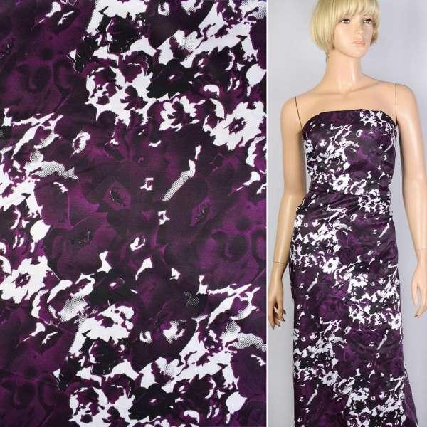 Коттон атлас фиолетовый в черно-белые цветы-абстракцию ш.147 оптом