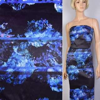 Коттон атлас черный принт сиренево-голубые цветы ш.130 оптом