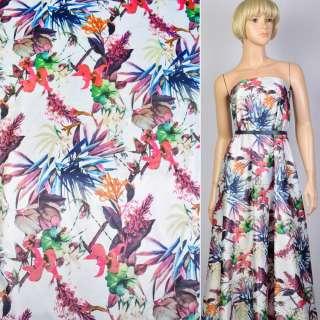 Коттон атлас белый принт розовые цветы и синие листья ш.140 оптом