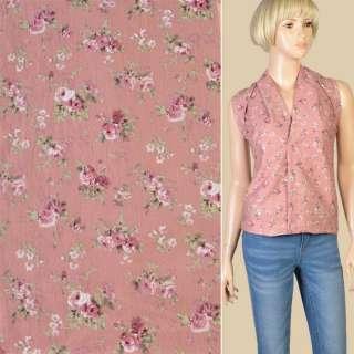 Коттон фрезовый в розовые розы, ш.145 оптом