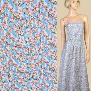 Коттон белый в мелкие голубые и розовые цветы, ш.150 оптом