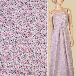 Коттон белый в мелкие розовые, серые, сиреневые цветы, ш.145 оптом