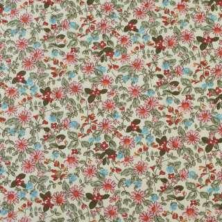 Коттон кремовый в розовые, голубые цветы, оливковые ветки, ш.145 оптом