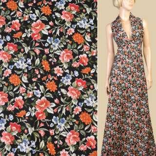 Коттон черный в оранжевые, коричневые цветы, ш.147 оптом