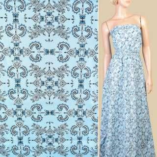 Коттон голубой в бело-синие цветы, орнамент, ш.145 оптом