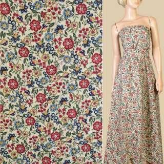 Коттон бежевый в красные, голубые, бежевые цветы, ветки, ш.150 оптом