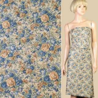Коттон бежевый в синие, бежевые розы, ш.150 оптом